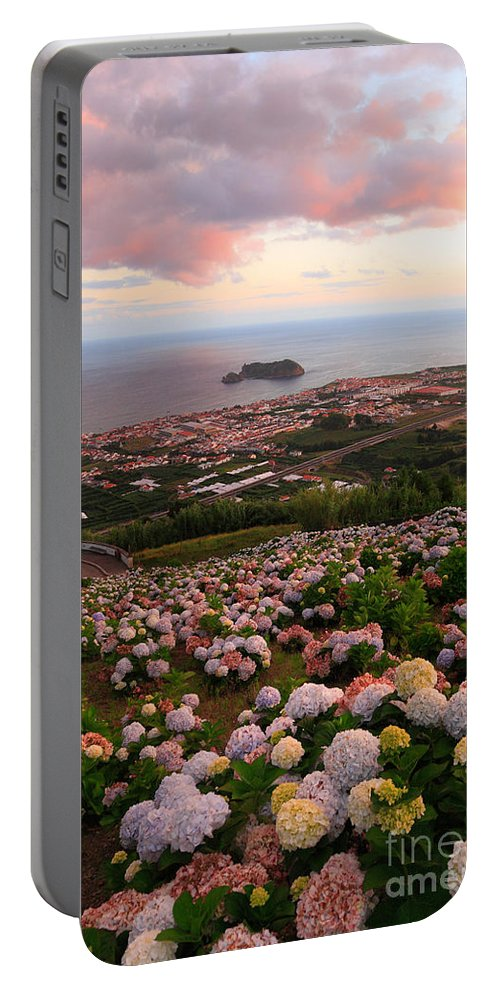 Landscape Portable Battery Charger featuring the photograph Azorean town at sunset by Gaspar Avila