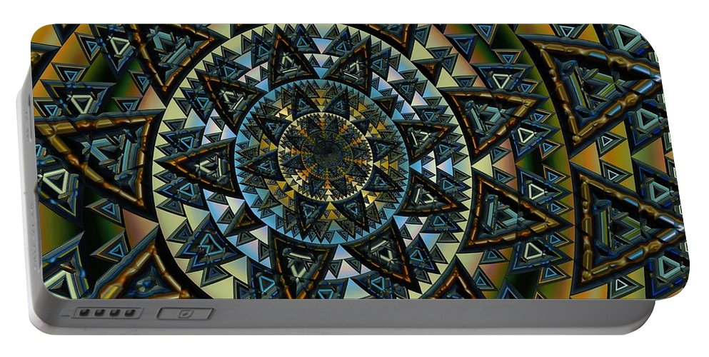 Fractal Portable Battery Charger featuring the digital art Aztec by Amanda Moore