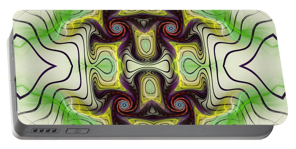 Aztec Portable Battery Charger featuring the mixed media Aztec Art Design by Deborah Benoit
