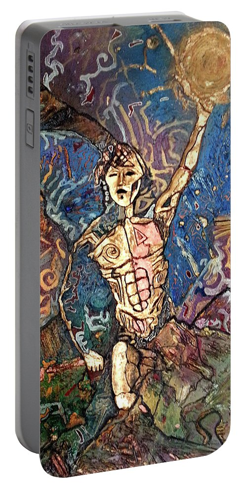 Cosmogony Portable Battery Charger featuring the painting Aztec Cosmogony by Bob Money