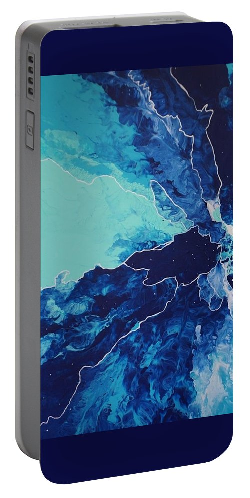 Blue Portable Battery Charger featuring the painting Azure Impulse II by Diana Naples