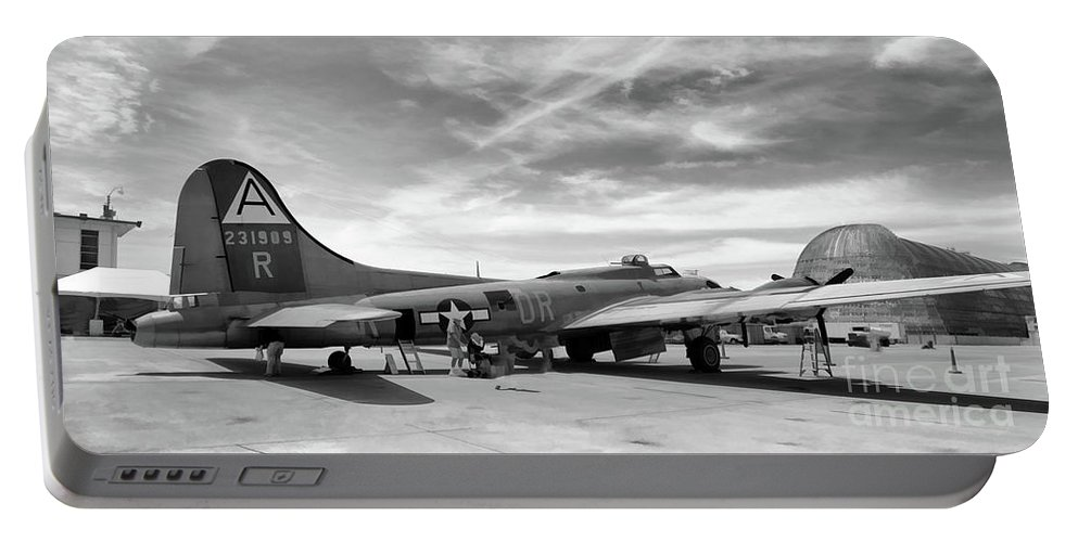 Wwii Portable Battery Charger featuring the photograph B-17 Black by Chuck Kuhn