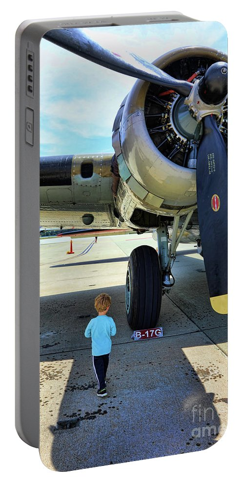 Wwii Portable Battery Charger featuring the photograph B-17 Engine Aircraft Wwii by Chuck Kuhn