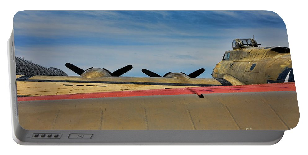 B-17 Portable Battery Charger featuring the photograph B-17 Flying Fortress by Chuck Kuhn