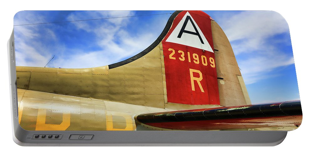Wwii Portable Battery Charger featuring the photograph B-17 Tail Wwii by Chuck Kuhn