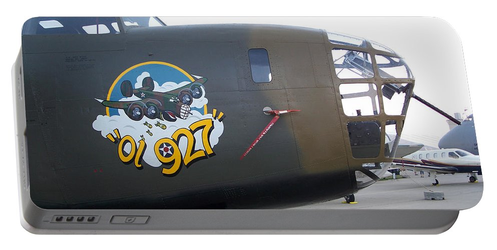 B-24 Portable Battery Charger featuring the photograph B-24 Nose Art by Tommy Anderson