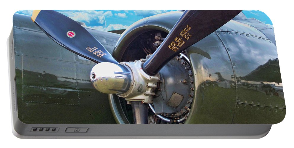 North American B-25 Mitchell Portable Battery Charger featuring the photograph B-25 Engine by Tommy Anderson