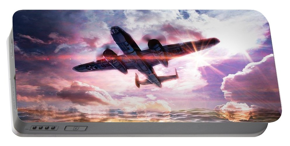 B-25b Usaaf Portable Battery Charger featuring the digital art B-25b Usaaf by Aaron Berg