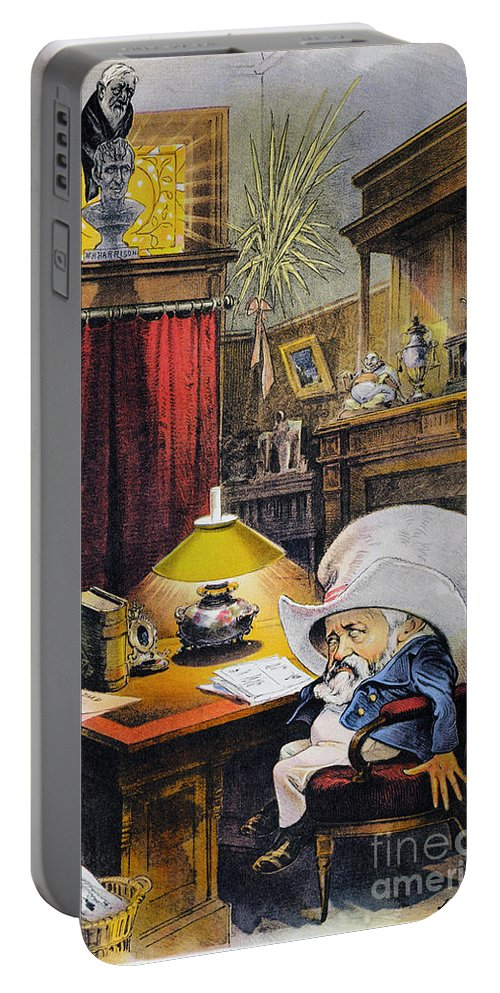 1892 Portable Battery Charger featuring the photograph B. Harrison Cartoon, 1892 by Granger