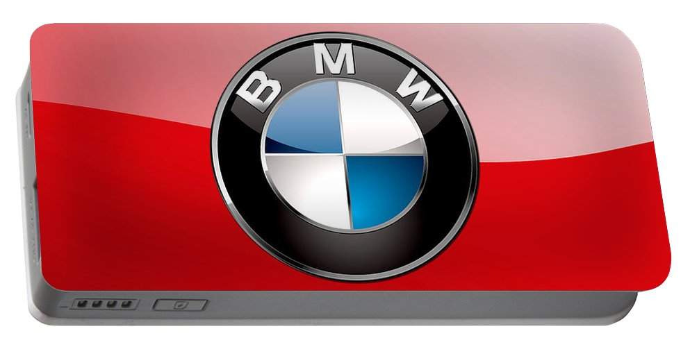 'auto Badges 3d' By Serge Averbukh Portable Battery Charger featuring the photograph B M W Badge On Red by Serge Averbukh