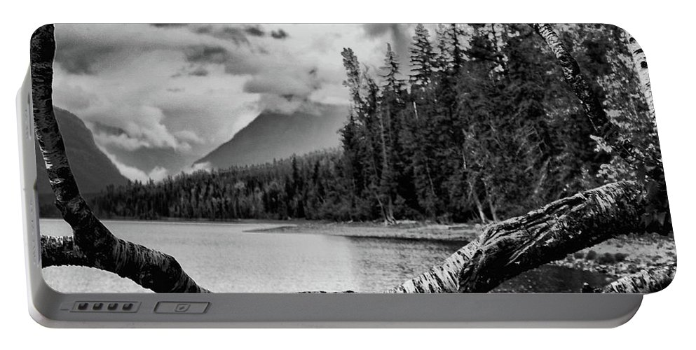 Lake Portable Battery Charger featuring the photograph B W Flathead Lake by Darrell Mcgahhey