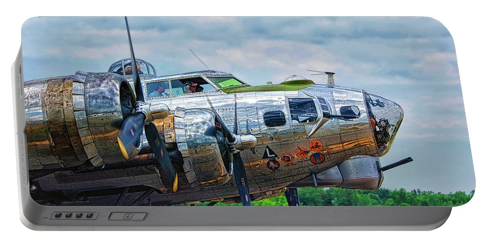 Flying Fortress Portable Battery Charger featuring the photograph B17 Bomber Side View by Thomas Woolworth