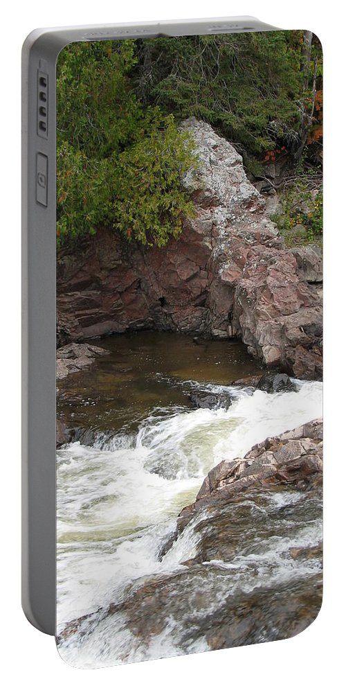 River Portable Battery Charger featuring the photograph Babbling by Kelly Mezzapelle