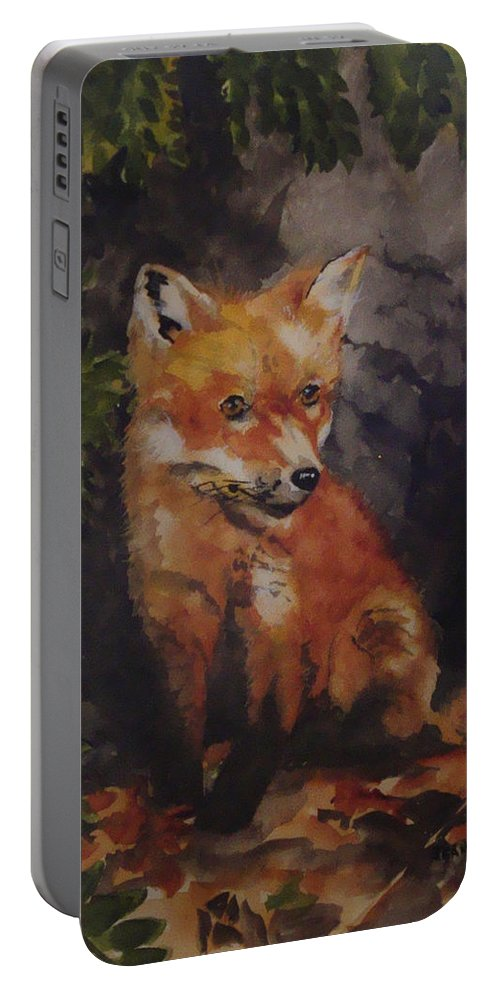 Fox Portable Battery Charger featuring the painting Babe In The Woods by Jean Blackmer