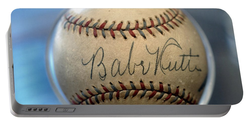 Stitch Portable Battery Charger featuring the photograph Babe Ruth Baseball. by W Scott McGill