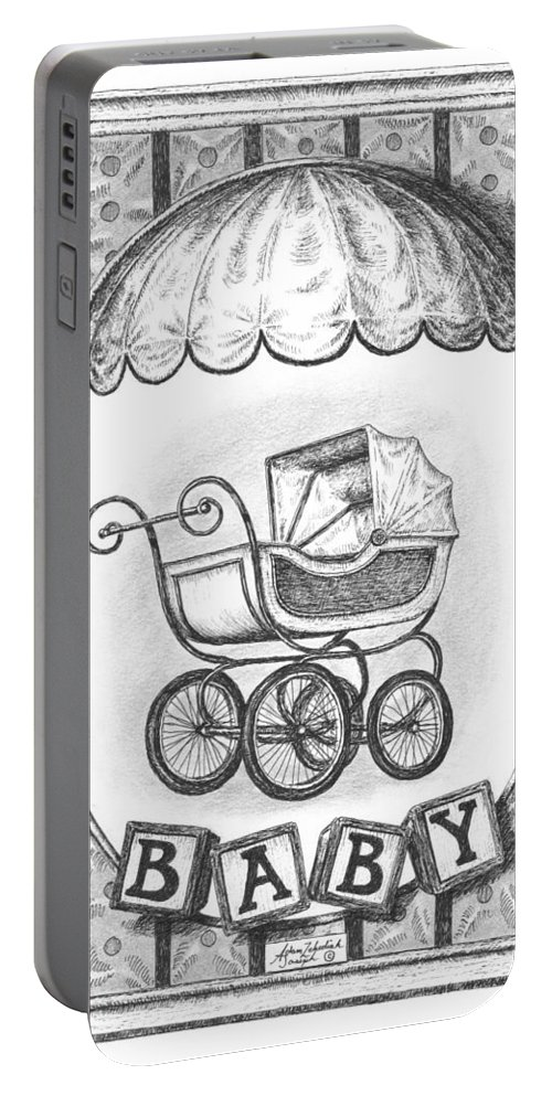 Black Portable Battery Charger featuring the drawing Baby Carriage by Adam Zebediah Joseph