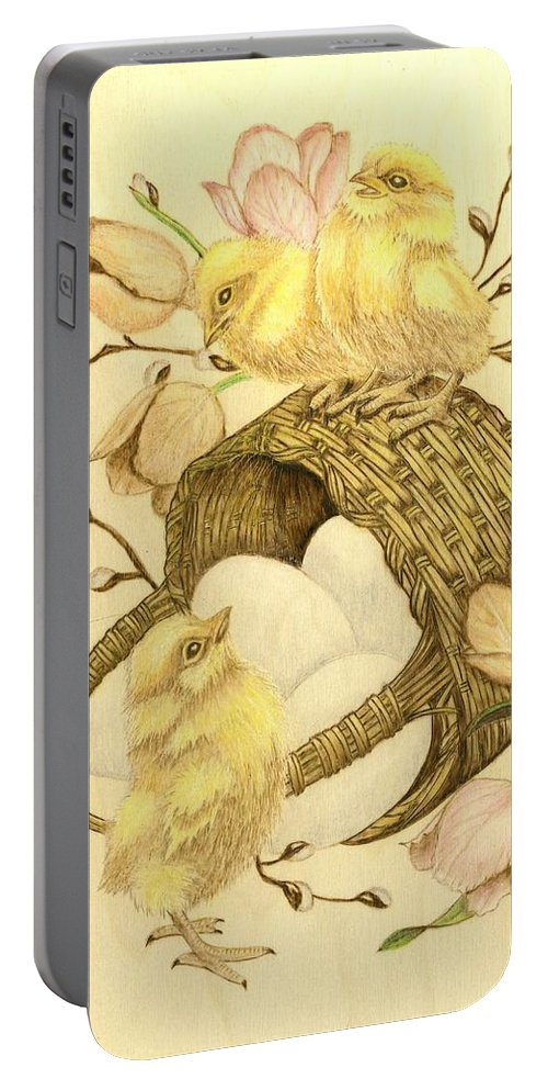 Chicks Portable Battery Charger featuring the pyrography Baby Chicks by Danette Smith