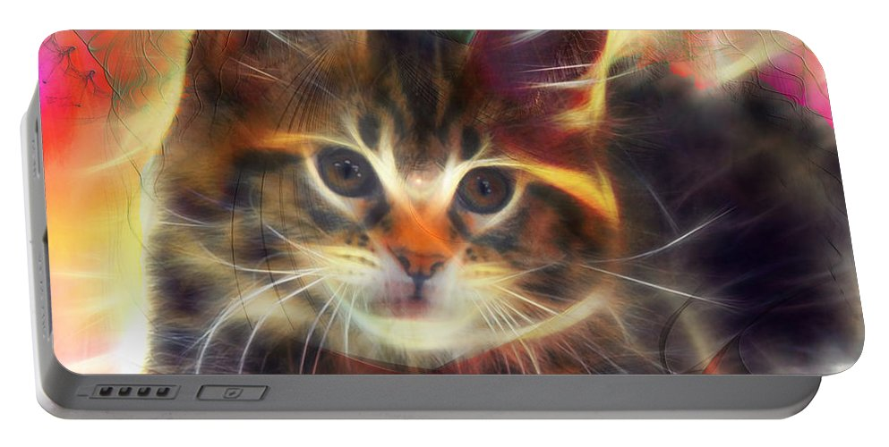 Affordable Art Portable Battery Charger featuring the digital art Baby Face - Square Version by John Beck