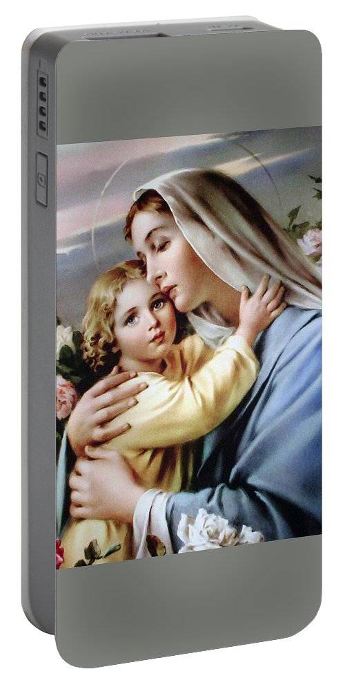 Christmas Portable Battery Charger featuring the painting Baby Jesus by Munir Alawi
