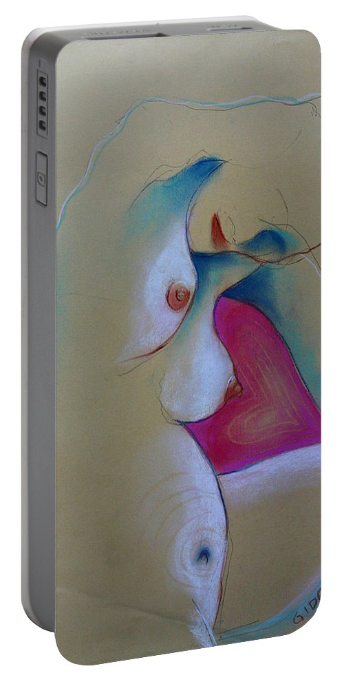 Drawing Portable Battery Charger featuring the drawing Baby Love by Gideon Cohn