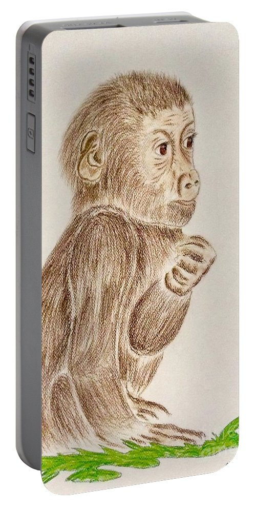 Baby Monkey Portable Battery Charger featuring the pastel Baby Monkey by Natalia Wallwork