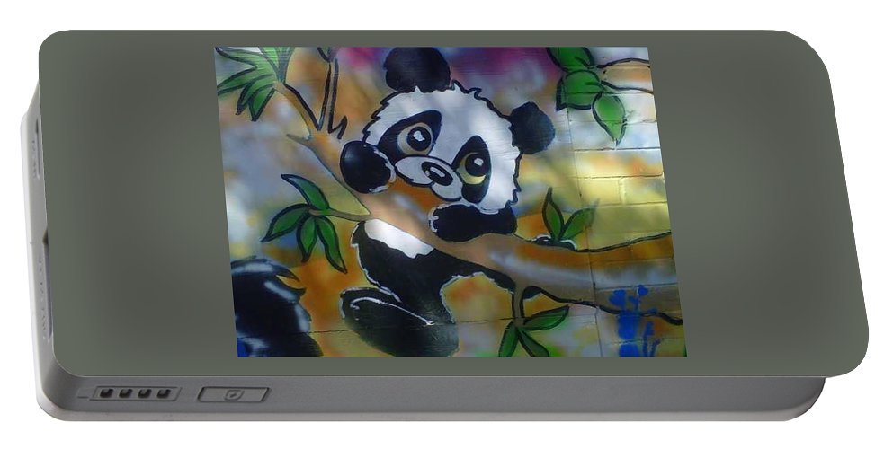 Baby Panda Portable Battery Charger featuring the painting Baby Panda by Sylvester Wofford