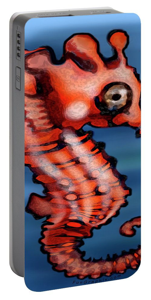 Seahorse Portable Battery Charger featuring the painting Baby Seahorse by Kevin Middleton