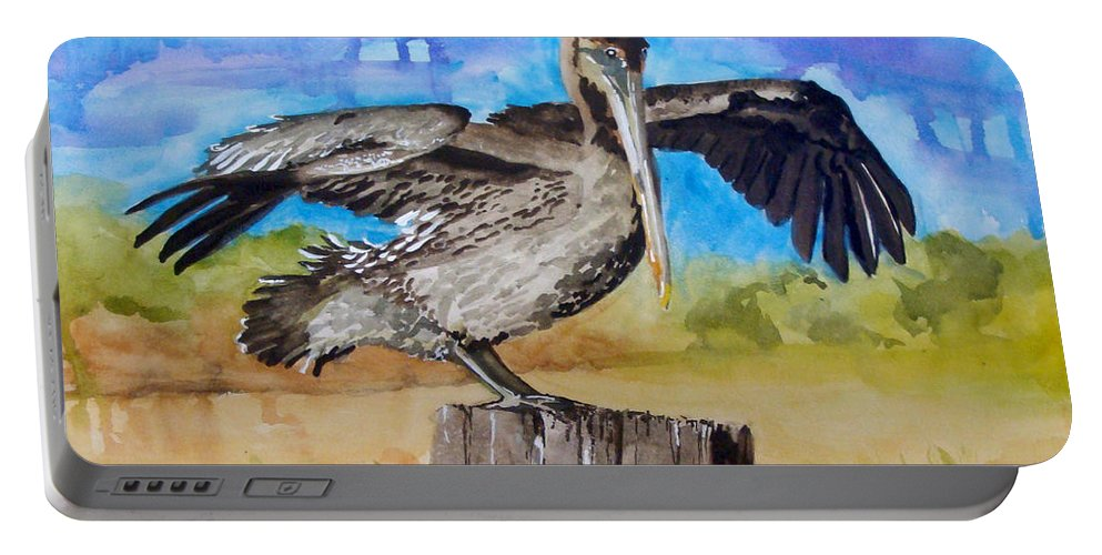 Pelican Portable Battery Charger featuring the painting Baby Spreads His Wings by Jean Blackmer