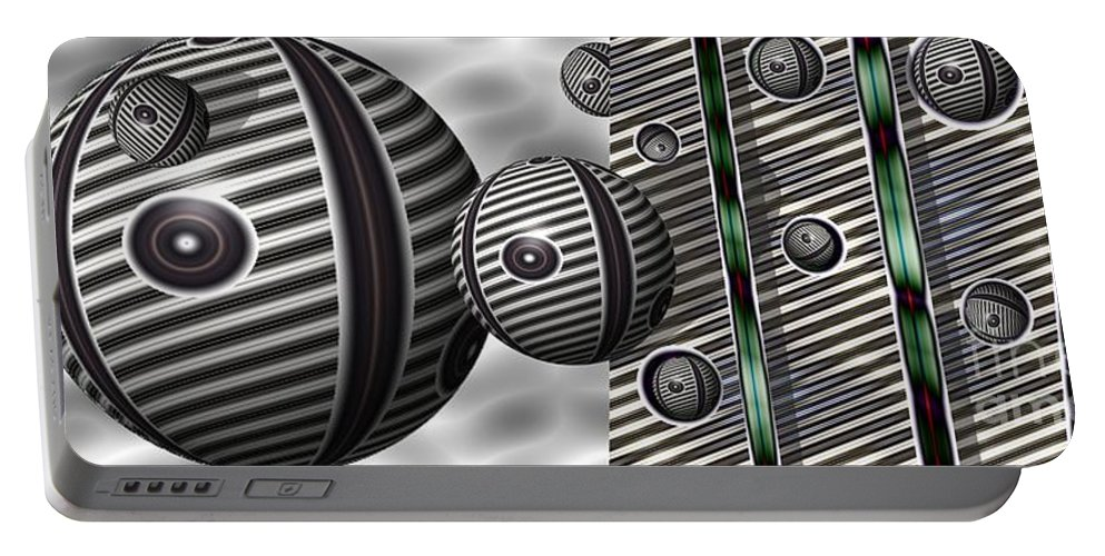 Abstract Portable Battery Charger featuring the digital art Bocce Balls by Ron Bissett