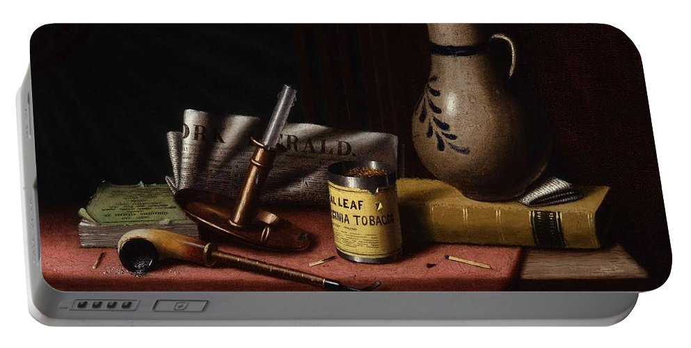 Art Portable Battery Charger featuring the painting Bachelor S Table By William Michael Harnett by William Michael Harnett