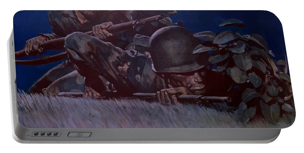 Propaganda Portable Battery Charger featuring the painting Back 'em Up -- Ww2 by War Is Hell Store