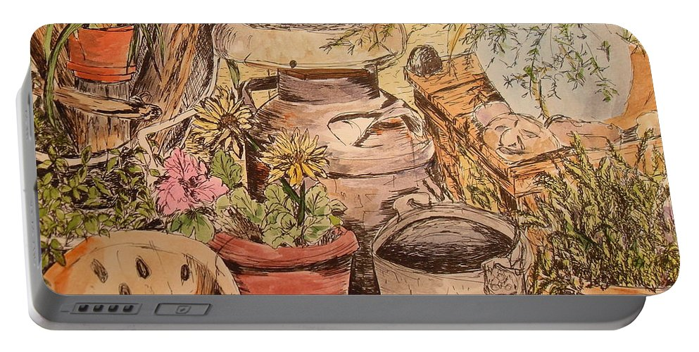 Back Porch Portable Battery Charger featuring the painting Back Porch by Vicki Housel