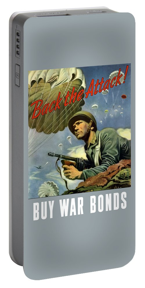 Airborne Portable Battery Charger featuring the painting Back The Attack Buy War Bonds by War Is Hell Store