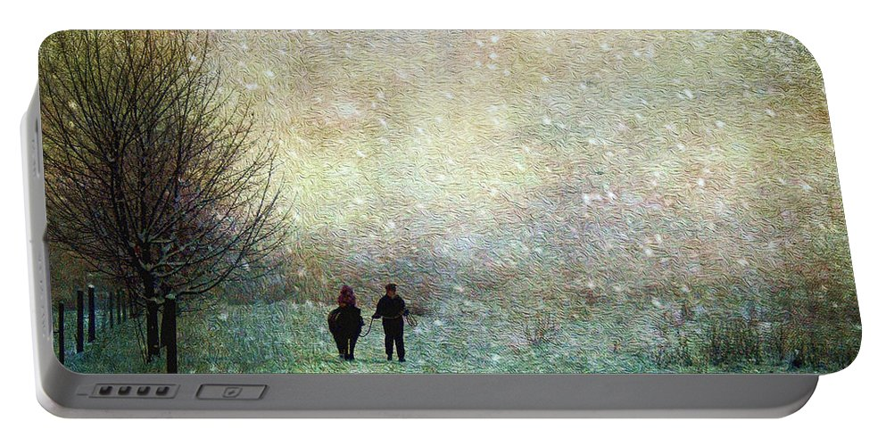 Fog Portable Battery Charger featuring the photograph Back To The Barn by Kathy Bassett