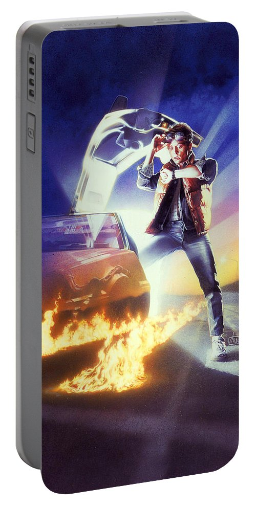 Back To The Future 1985 Portable Battery Charger featuring the digital art Back To The Future 1985 by Geek N Rock
