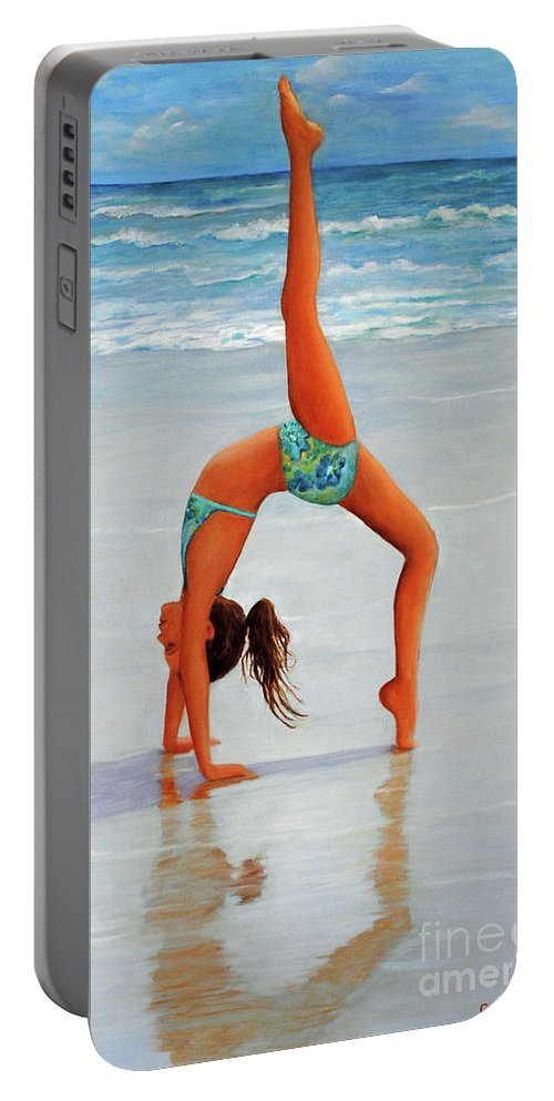Beach Portable Battery Charger featuring the painting Backflip At The Beach by Carolyn Shireman