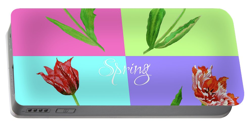 Bouquet Portable Battery Charger featuring the digital art Background With Tulips by Natalia Piacheva