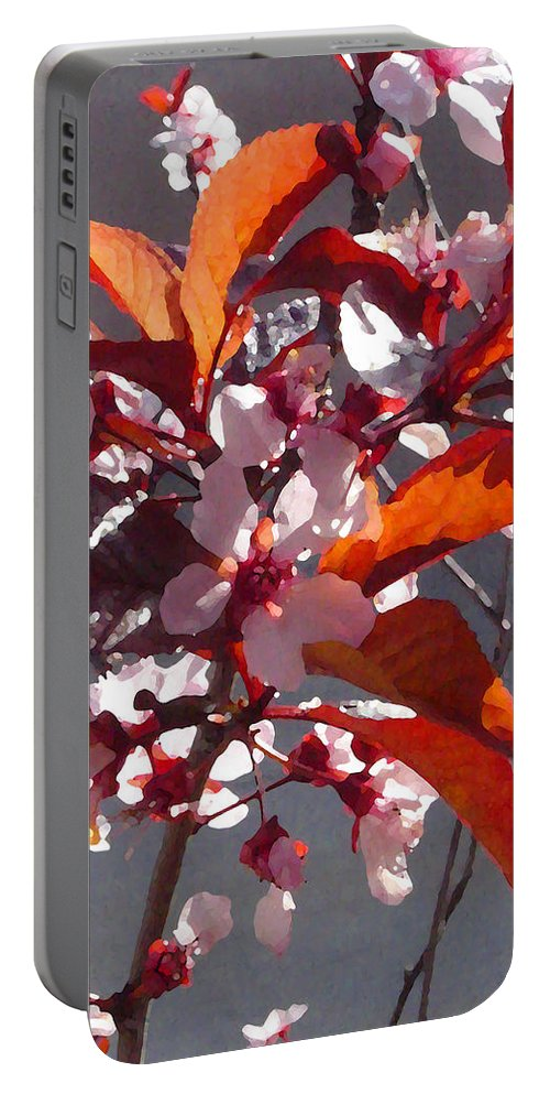 Floral Portable Battery Charger featuring the painting Backlit Pink Tree Blossoms by Amy Vangsgard