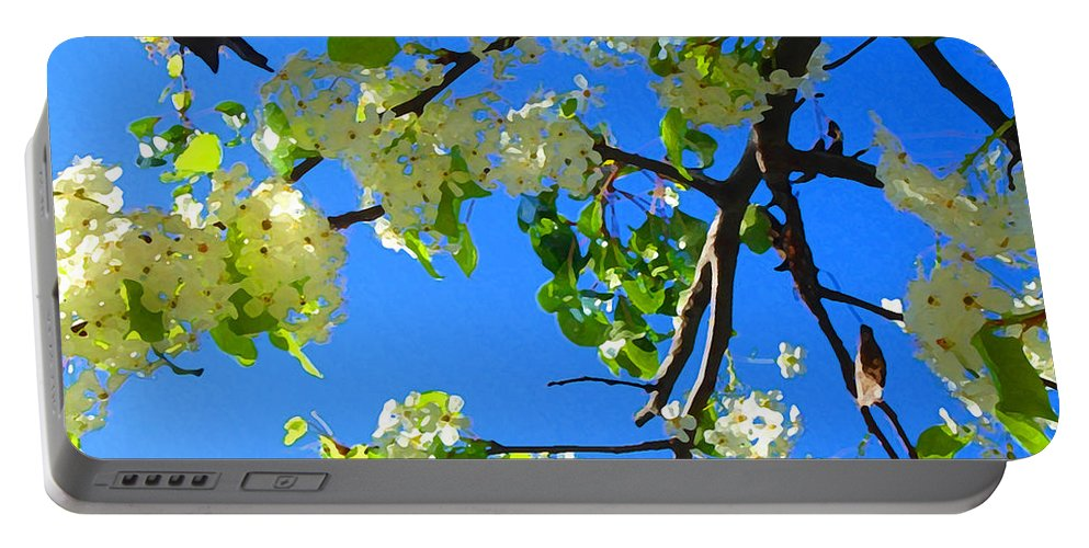 Tree Blossoms Portable Battery Charger featuring the painting Backlit White Tree Blossoms by Amy Vangsgard