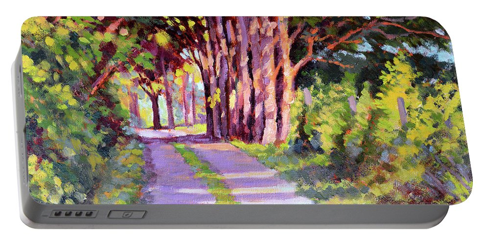 Road Portable Battery Charger featuring the painting Backroad Canopy by Keith Burgess