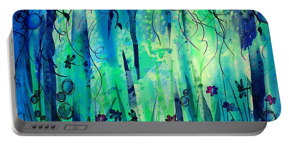 Abstract Portable Battery Charger featuring the digital art Backyard Dreamer by William Russell Nowicki