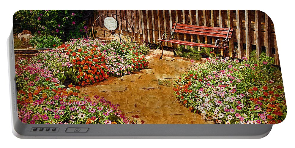 Pink Flower Portable Battery Charger featuring the digital art Backyard Garden by Paul Bartoszek