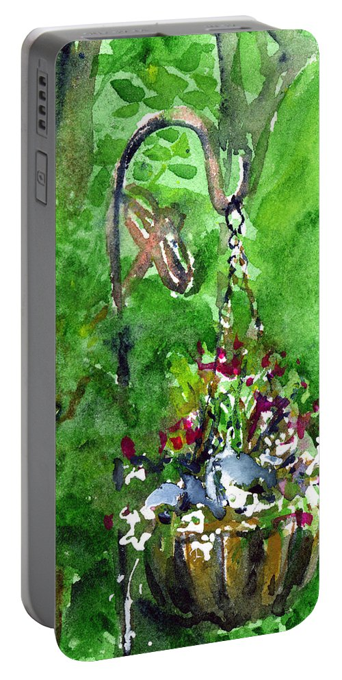 Plant Portable Battery Charger featuring the painting Backyard Hanging Plant by John D Benson