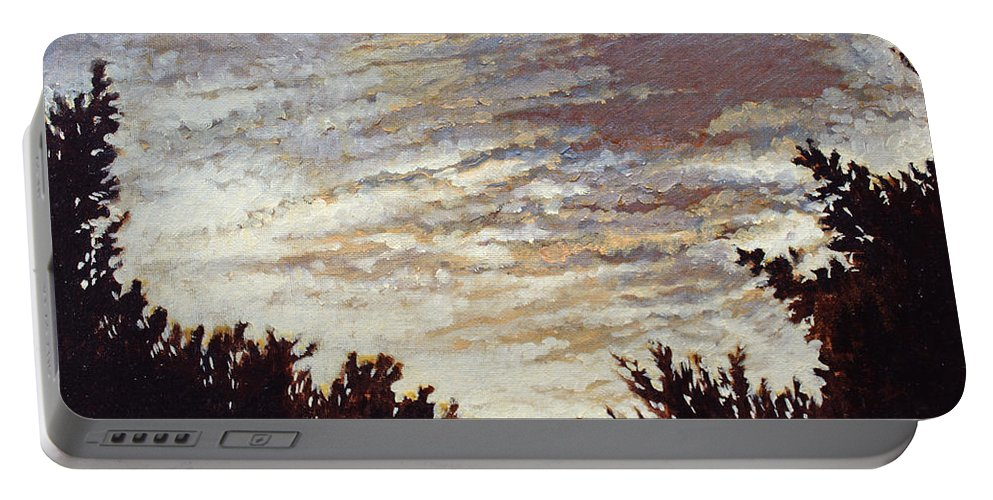 Landscape Portable Battery Charger featuring the painting Backyard Sunset by Todd Blanchard