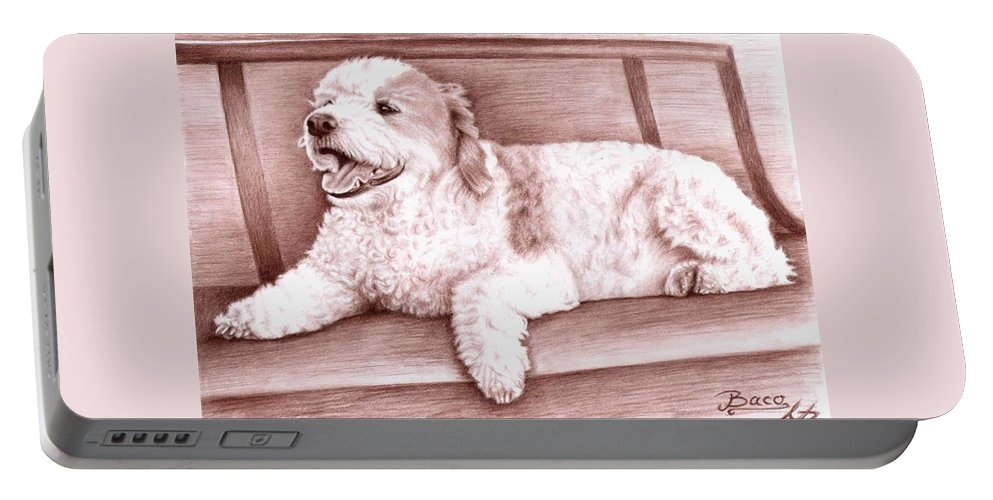 Dog Portable Battery Charger featuring the drawing Baco by Nicole Zeug