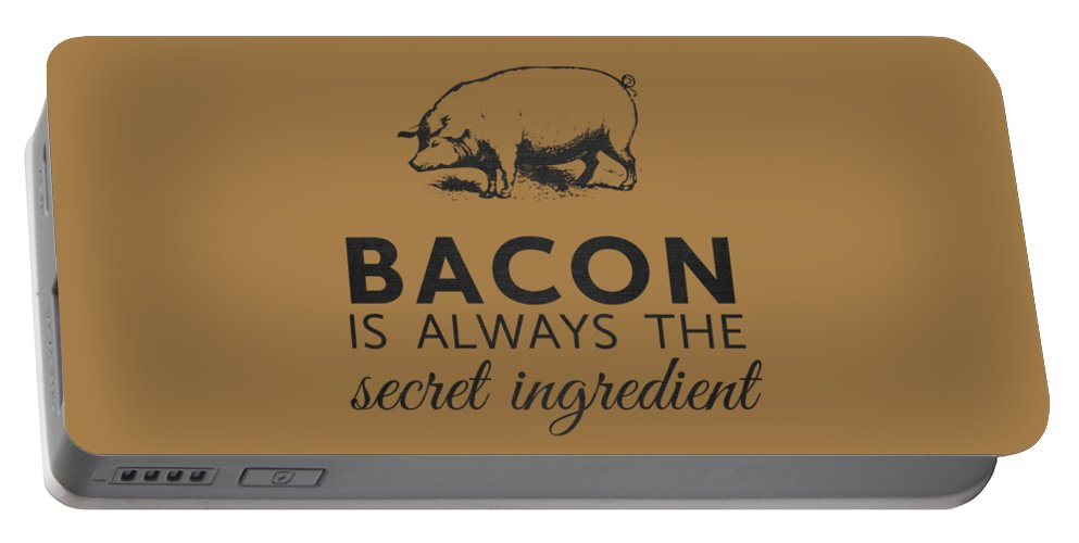 Bacon Portable Battery Charger featuring the digital art Bacon is Always the Secret Ingredient by Nancy Ingersoll