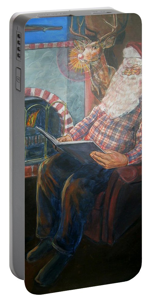 Christmas Portable Battery Charger featuring the painting Bad Rudolph by Bryan Bustard