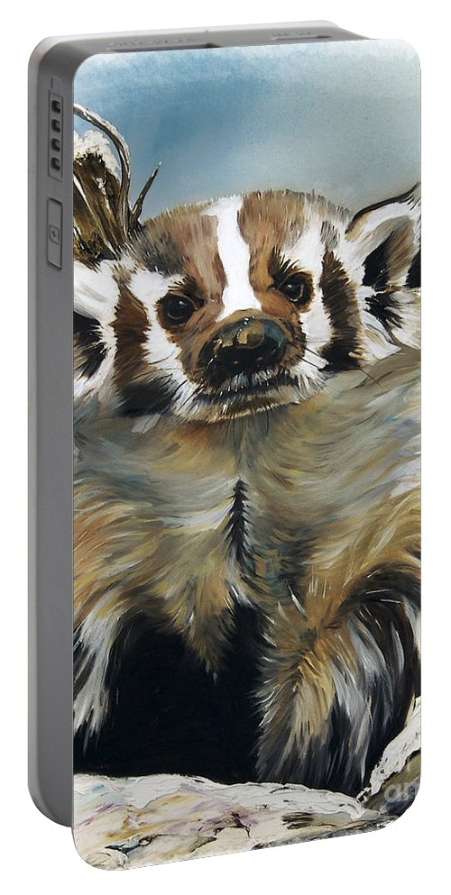 Southwest Art Portable Battery Charger featuring the painting Badger - Guardian Of The South by J W Baker