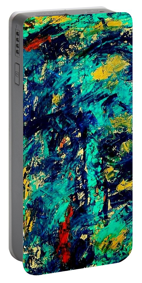 Oil Painting Portable Battery Charger featuring the painting Baffled by Fareeha Khawaja