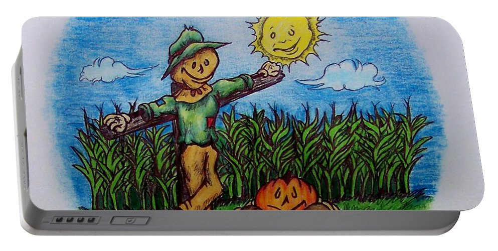 Michael Portable Battery Charger featuring the drawing Baggs And Boo by Michael TMAD Finney